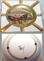 Handpainted Butterfly Ashtray from Italy