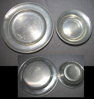Pewter salt dish and coaster
